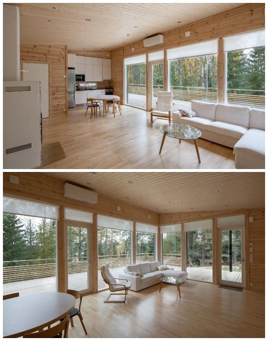 Скандинавский минимализм оформления интерьера загородного дома Jurmo.