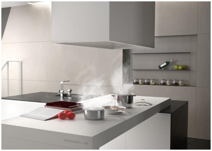На особой керамической столешнице можно готовить еду, нарезать овощи, разделывать мясо и даже читать книги.