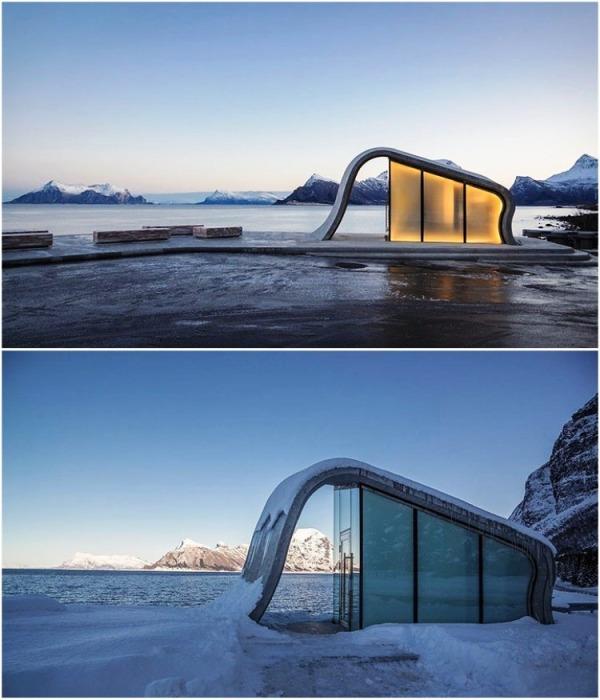 В любое время суток и пору года футуристическое строение вызывает восхищение (Зона отдыха Ureddplassen, Норвегия). | Фото: board.postjung.com.