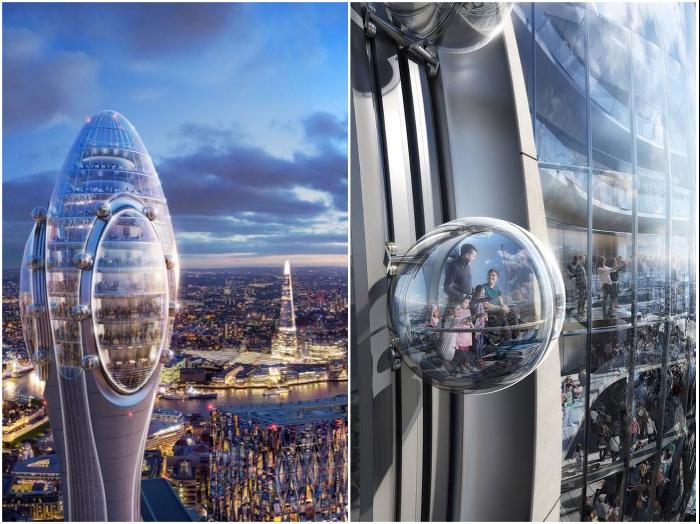 Стеклянные кабины лифта, движущиеся по боковым окружностям лепестков, станут захватывающим аттракционом для любителей экстрима (концепт The Tulip, Лондон).