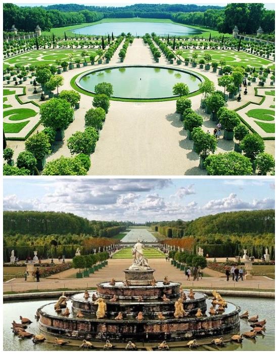 Всего в садах насчитывается 1400 фонтанов, которые работают круглосуточно (Дворцово-парковый комплекс Версаль, Франция). | Фото: gursesintour.com.