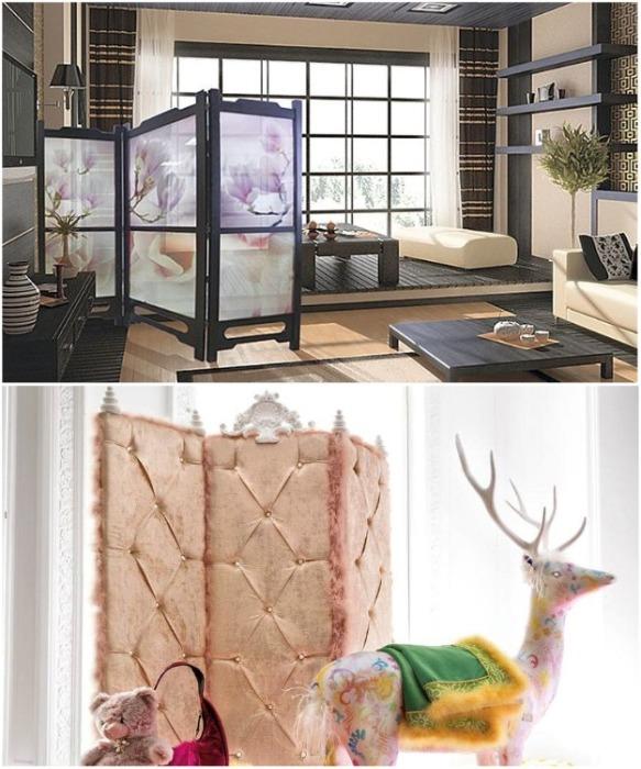 Створки ширм могут быть сделаны как с прозрачных материалов, так и мягкими, особенно это актуально для детских комнат. | Фото: peregorodkainfo.ru.