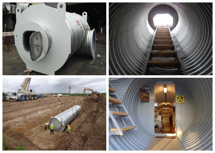 Вход в убежище и все коммуникации монтируются в подготовленном котловане на местности (Подземный бункер-труба Atlas).