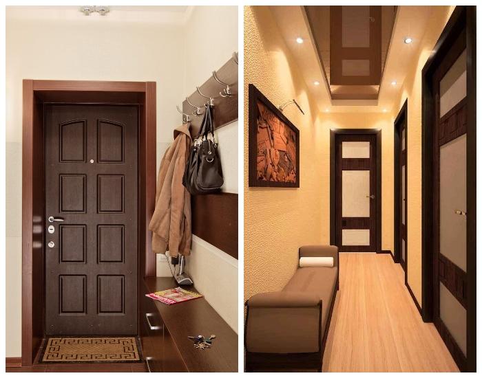 Бежевые тона в оформлении коридора можно «разбавить» темными фасадами дверей. | Фото: pinterest.com.