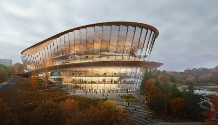 Волнообразная крыша, плавные обтекаемые формы самого здания напоминают движения танцоров (концепт «wHY Architecture»). | Фото: designboom.com.