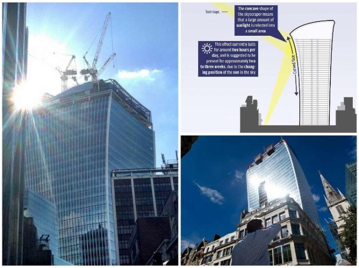 Недостроенный бизнес-центр Walkie Talkie стал главной знаменитостью Лондона из-за неправильно спроектированных окон. (Великобритания). | Фото: divo-ra.blogspot.com.