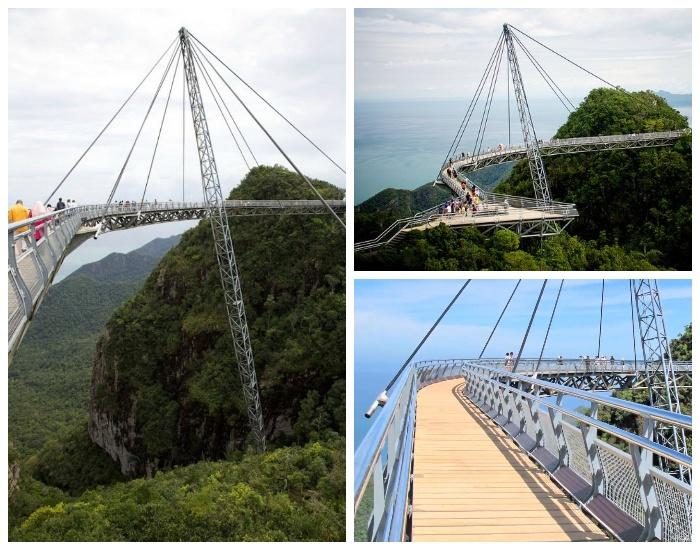 Пешеходный «Небесный мост» закреплен всего лишь на одной стальной опоре («Небесный мост», архипелаг Лангкави).
