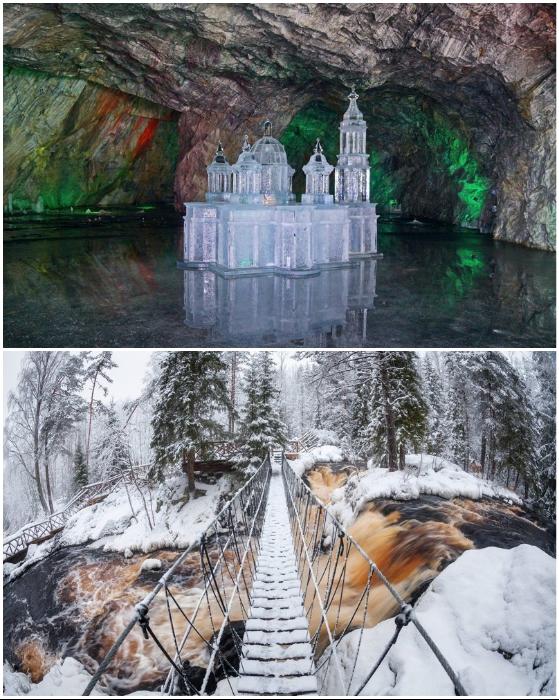 Можно наведаться в штольни или прогуляться к водопаду на реке Тохмайоки (Рускеала, Карелия).