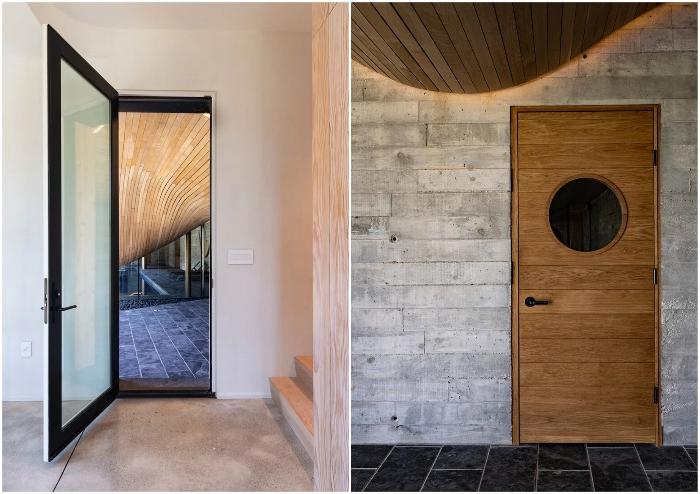 Новый гостевой дом может «похвастаться» необычностью форм привычного материала.