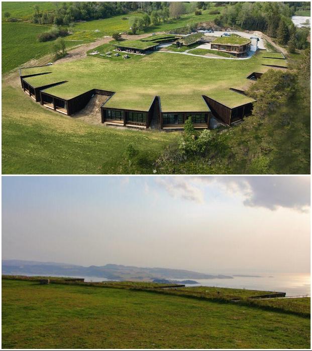 В Норвегии появился эко-отель, замаскированный под травянистый скандинавский ландшафт.
