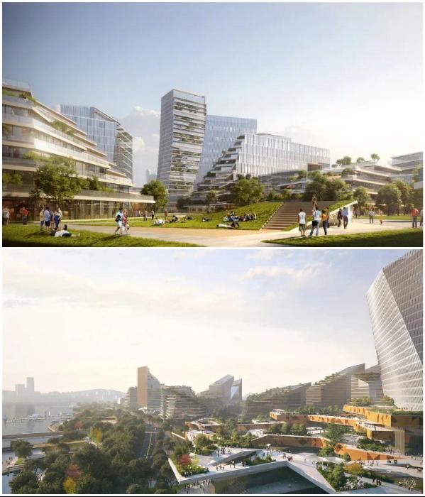 Десятки зданий высотой от одного до 30 этажей будут проектировать разные архитектурные бюро (концепт «Net City»). | Фото: interestingengineering.com/ © NBBJ.