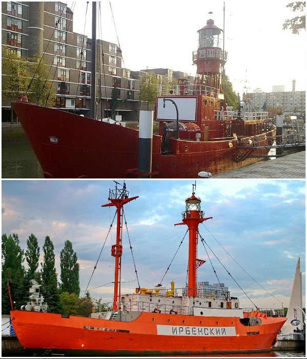 Современные плавучие маяки «Breeveertien» и «Ирбенский». | Фото: ru.wikipedia.org/ lookmytrips.com.