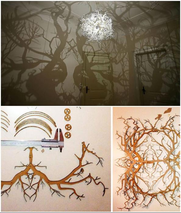 Достичь эффекта дремучего леса можно с помощью корней, проволоки и светотени.