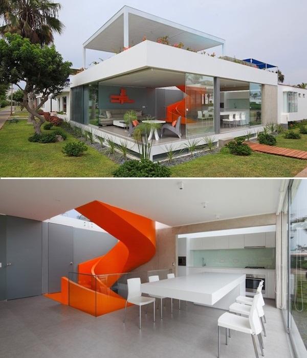 Так выглядит современный дом со смелыми конструктивными элементами, которые прекрасно видно снаружи (Проект архитектора Мартина Дуланто Сангалли, Перу). | Фото: mymodernmet.com.