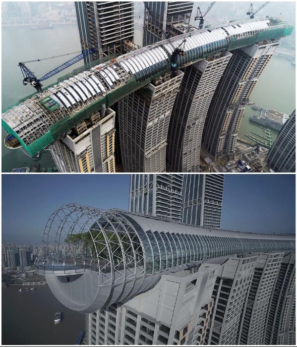 Закончилось строительство горизонтального небоскреба «Crystal» с самой большой смотровой площадкой в мире (Чунцин, Китай). | Фото: newatlas.com/ russian.news.cn.