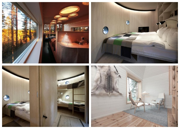 Интерьер каждого номера соответствует концепции домика (Гостиничный комплекс Treehotel, Швеция).