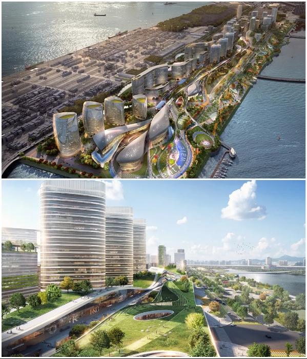 Главным украшением города станет парк «Catch the Wave», расположенной вдоль берега залива (концепт «Net City»). | Фото: archiposition.com/ © NBBJ.