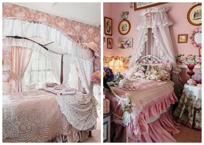 Рюшами и воланами переполнен весь интерьер спальных комнат.
