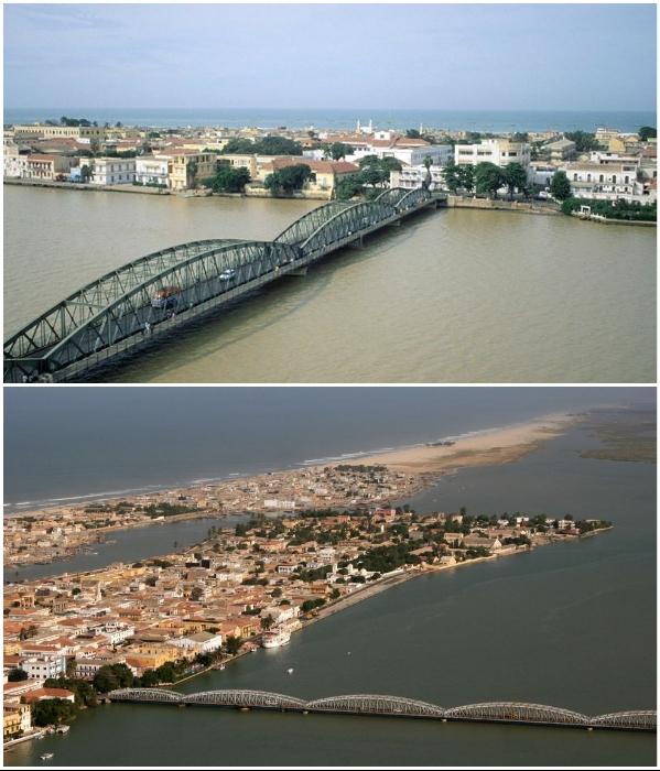 Мост Faidherbe, соединяющий центр города с материком, находится на грани затопления (Saint Louis, Сенегал). | Фото: pinterest.fr.