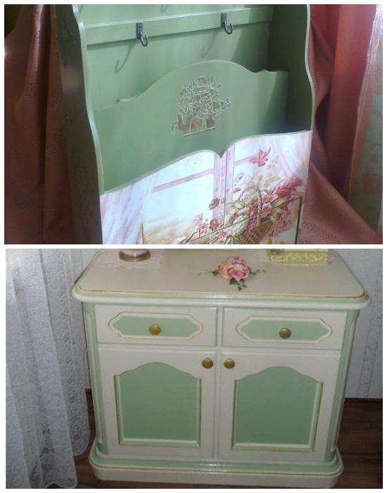 Старую мебель можно обновить с помощью меловых или молочных красок. | Фото: mirsovetov.ru.