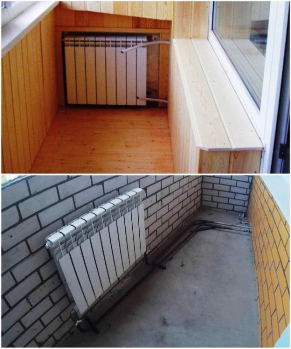 Радиаторы, подключенные к центральному отоплению лучше не выносить на балкон/лоджию. | Фото: balkonhelp.ru.