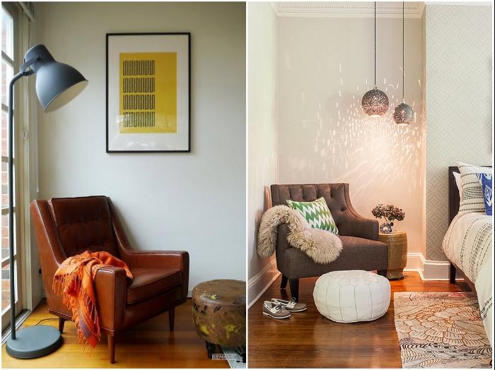 Обычное кресло может превратить угол в уютную и стильную зону отдыха/чтения. | Фото: interiorsroom.ru/ remontbp.com.