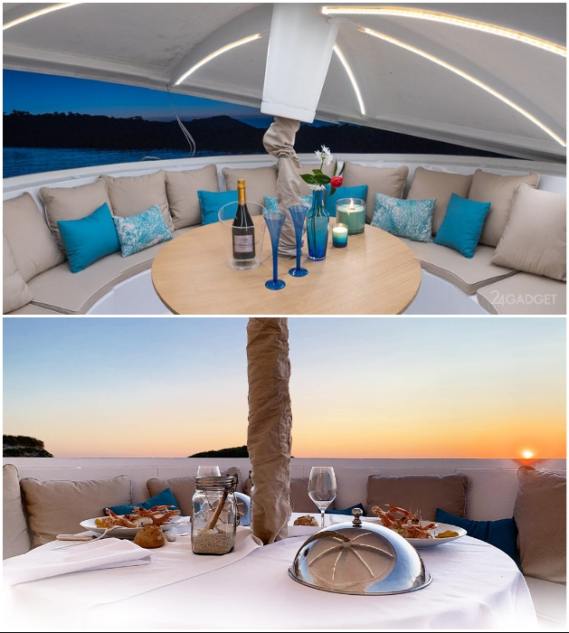 Под куполом плавучего дома оформлена открытая терраса, рассчитанная на прием 12 гостей («Anthenea»). | Фото: theculturecurators.com.
