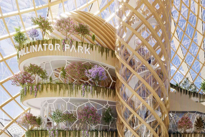 Внутри многоуровневой структуры Pollinator Park отведены места для выставочных площадей сельхозпродукции. | Фото: vincent.callebaut.org.