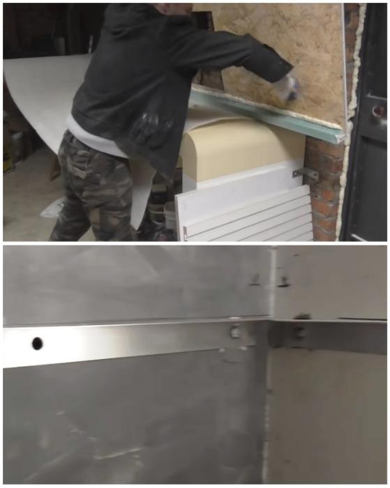 После зачистки остатков строительной пены мастер закрепил профиль из нержавеющей стали. | Фото: youtube.com.