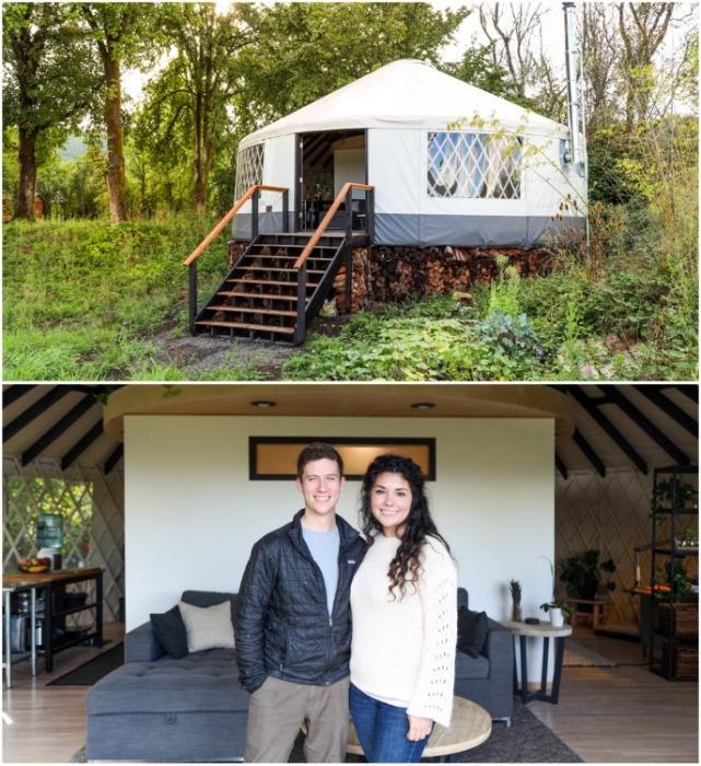 Молодая пара Зак и Николь Лопес построили юрту вместо стандартного жилья (Портленд, США). | Фото: livingbiginatinyhouse.com.