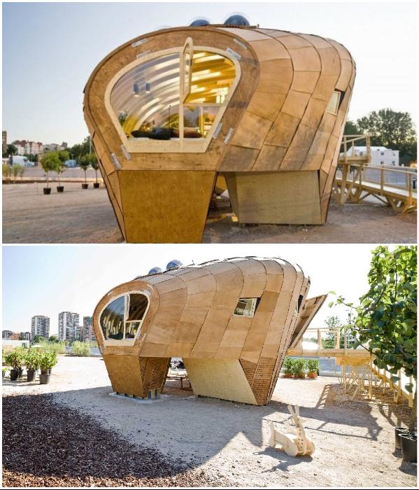 Экспериментальный домик был создан из натуральных древесно-стружечных материалов (Fab Lab House, Испания). | Фото: grinhome.blogspot.com.