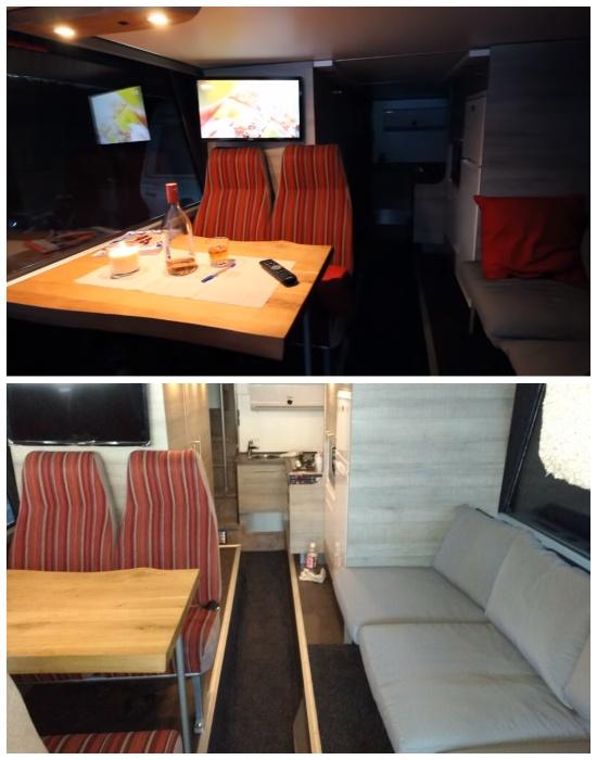 Зона столовой-гостиной в переоборудованном автобусе. | Фото: youtube.com.