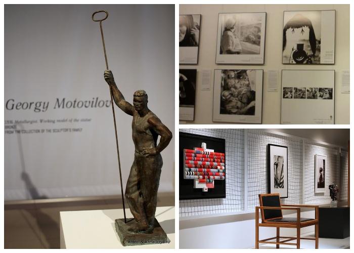 В музее собрана уникальная коллекция скульптур и фотографий, отражающих жизнь советского народа (Монумент «Рабочий и колхозница»).