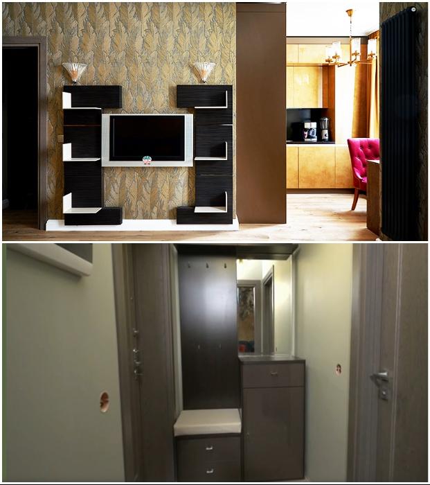 Лаконичная мебель гостиной и прихожей создана из качественного многослойного шпона.