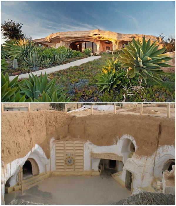 Современная сказочная пещера Малибу и берберские жилища-пещеры в Матматы. | Фото: helpintourism.com/ mymalibubeach.com.