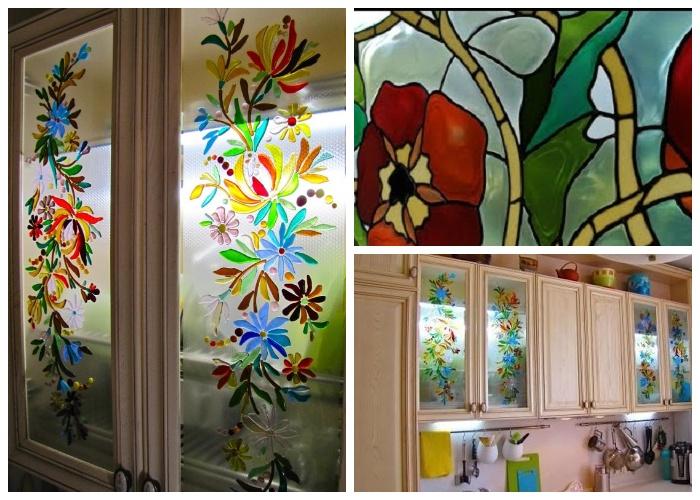 Оригинальные витражи на стеклах шкафов станут главным украшением всего интерьера. | Фото: rukami.yourarticles.ru.