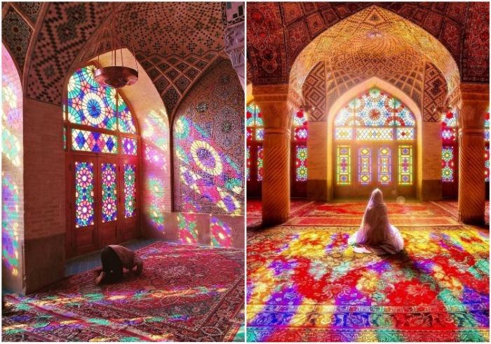 В утренние часы мусульмане просят о благословении Всевышнего (Nasir al-Mulk, Иран). | Фото: deligent.livejournal.com.