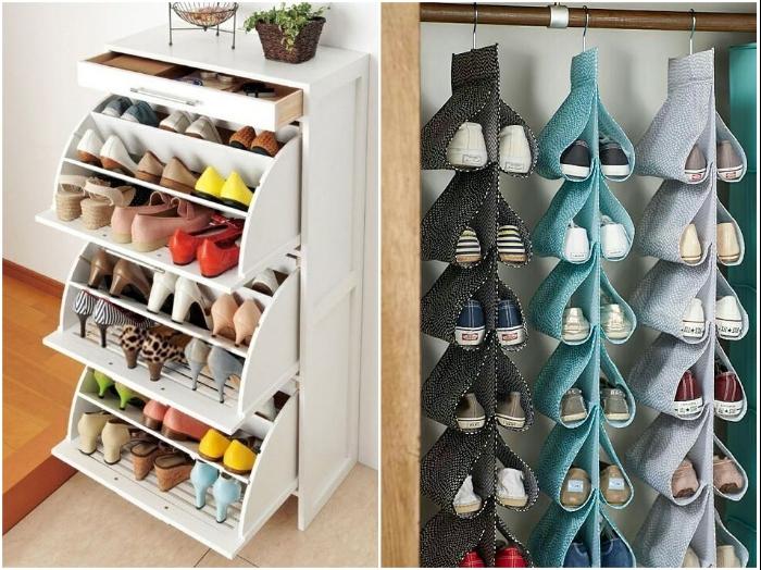 Современные органайзеры и специальные шкафы для обуви помогут навести порядок. | Фото: pinterest.co.kr/ zen.yandex.ru.