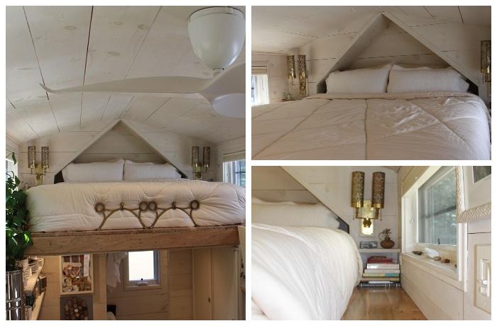 Полноценная спальня получилась на втором ярусе домика.