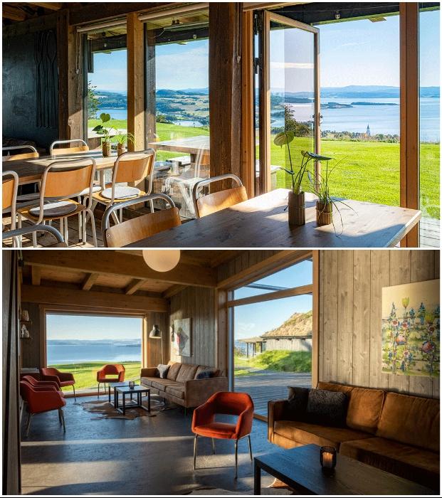 Ресторан и общие зоны отдыха расположены на вершине холма («Культурный ландшафт Эйны», Норвегия).