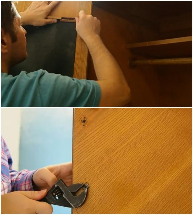 Если не получится разобрать шкаф, тогда нужно снять зеркало и фурнитуру.