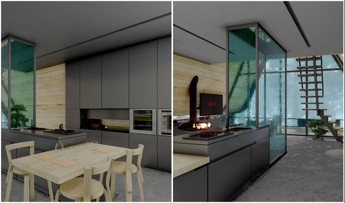 Ультрасовременная кухня в лесном домике позволит наслаждаться кулинарными изысками (Kujdane Cabin, Иран).