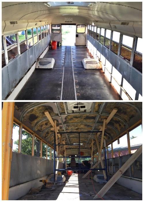 Полная реконструкция школьного автобуса.