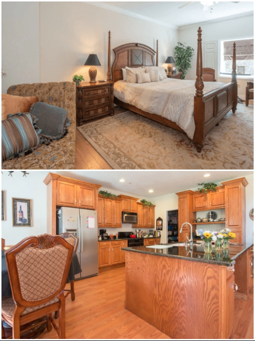 Спальня и кухня единственного гостиничного номера («Дэнвилл», Флорида). | Фото: lemurov.net/ msn.com.