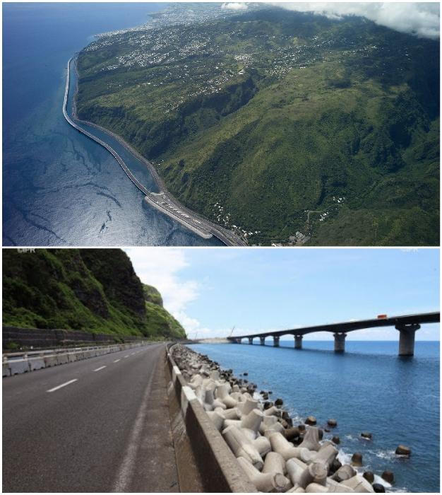 Из-за тропических штормов и падающих камней этот маршрут движения страдает от частых наводнений и оползней (Nouvelle Route du Littoral).