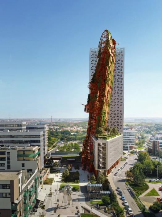 Если все пойдет по плану, то Top Tower станет самым высоким зданием в Чехии (концептуальный проект студии Black n Arch). | Фото: newatlas.com.