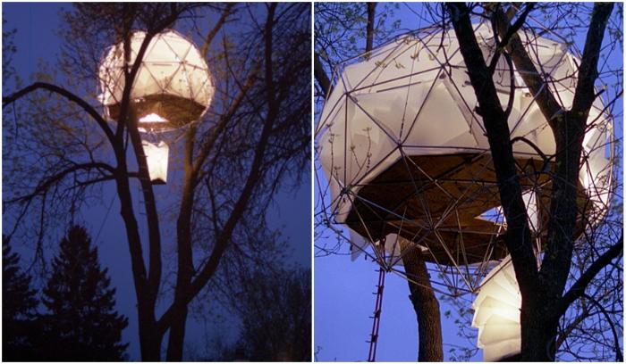 Дом-«фонарик» можно установить на любом крепком дереве за несколько часов («Tree House», Висконсин). | Фото: coroflot.com.
