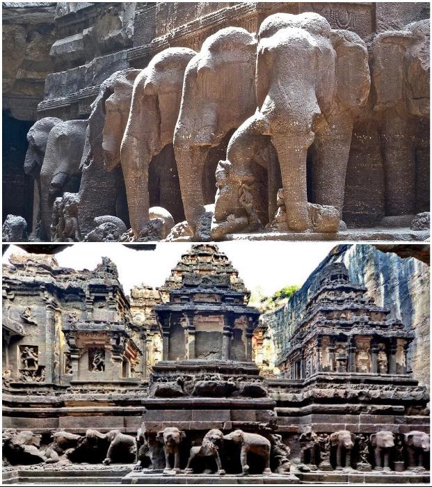 Самый фантастический индуистский храм на планете держится на статуях слонов и львов (Кайласанатха, Индия).