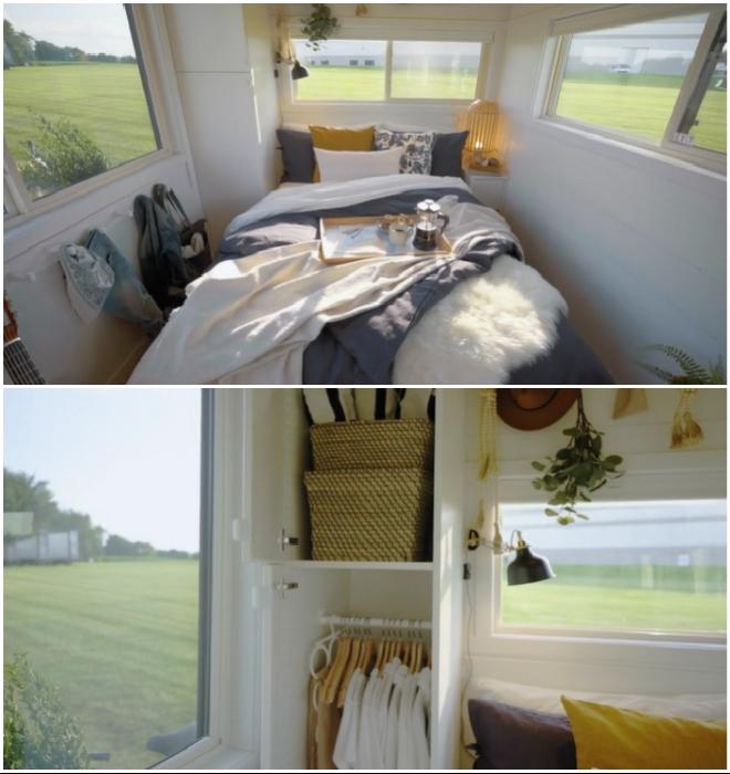 В спальной зоне расположена двуспальная кровать со скрытой системой хранения и встроенный шкаф (Ikea Tiny Home).