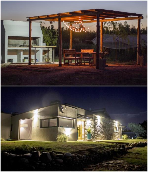 Для гостей организовали зону барбекю и ресторан, причем завтрак и обед входит в стоимость пребывания («CasArtero Eco Posada», Сан-Рафаэль). | Фото: containerhacker.com.
